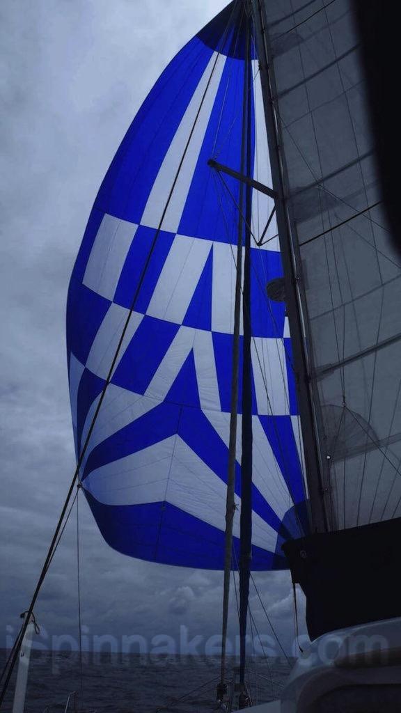 Catamaran Catana 471 con spinnaker simetrico blanco azul