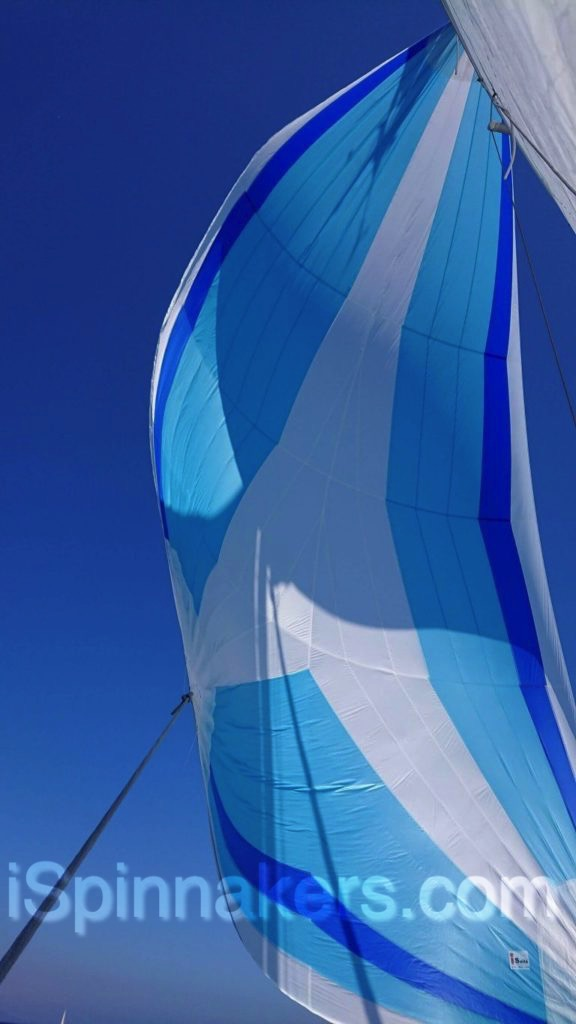 Beneteau First 310 con spinnaker asimetrico con colores personalizados azul blanco